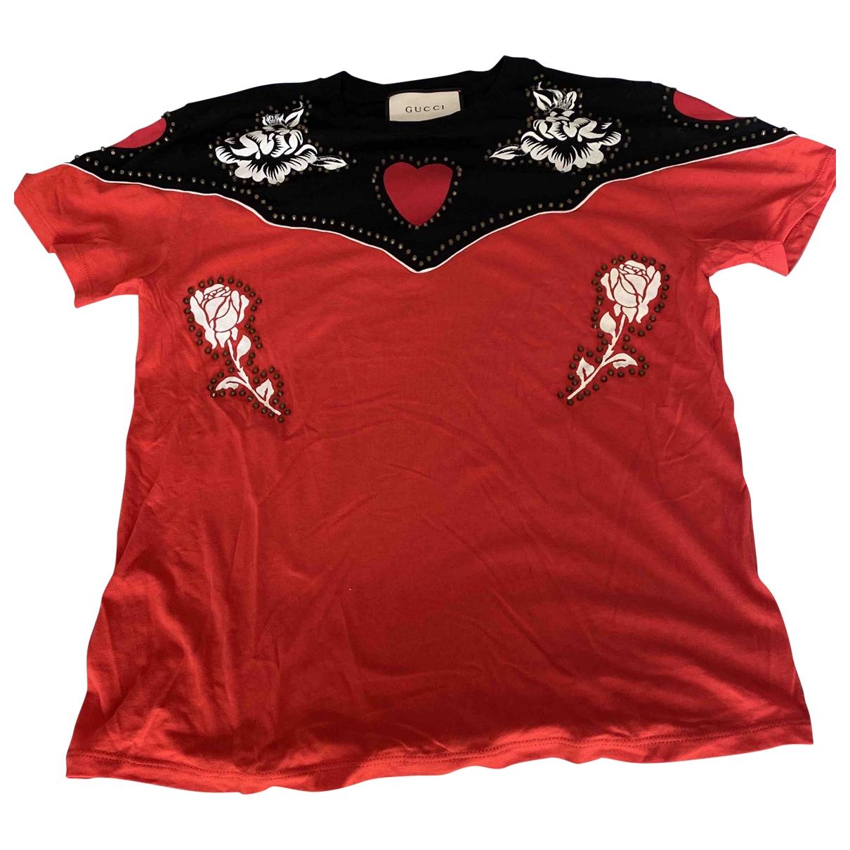 Gucci - Top   pour femme en coton - rouge