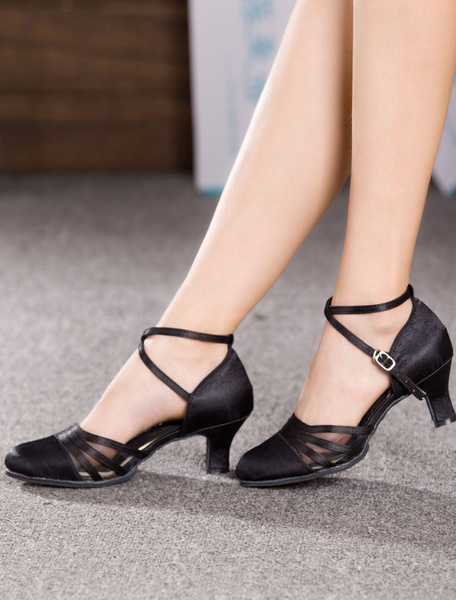 Milanoo Latin Dancing Shoes 2020 Black Criss Cross Ballroom Shoes Satin Dance Shoes