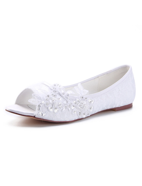 Milanoo Ivory Wedding Flats Lace Peep Toe Flowers Slip On Bridal Shoes Bridesmaid Shoes
