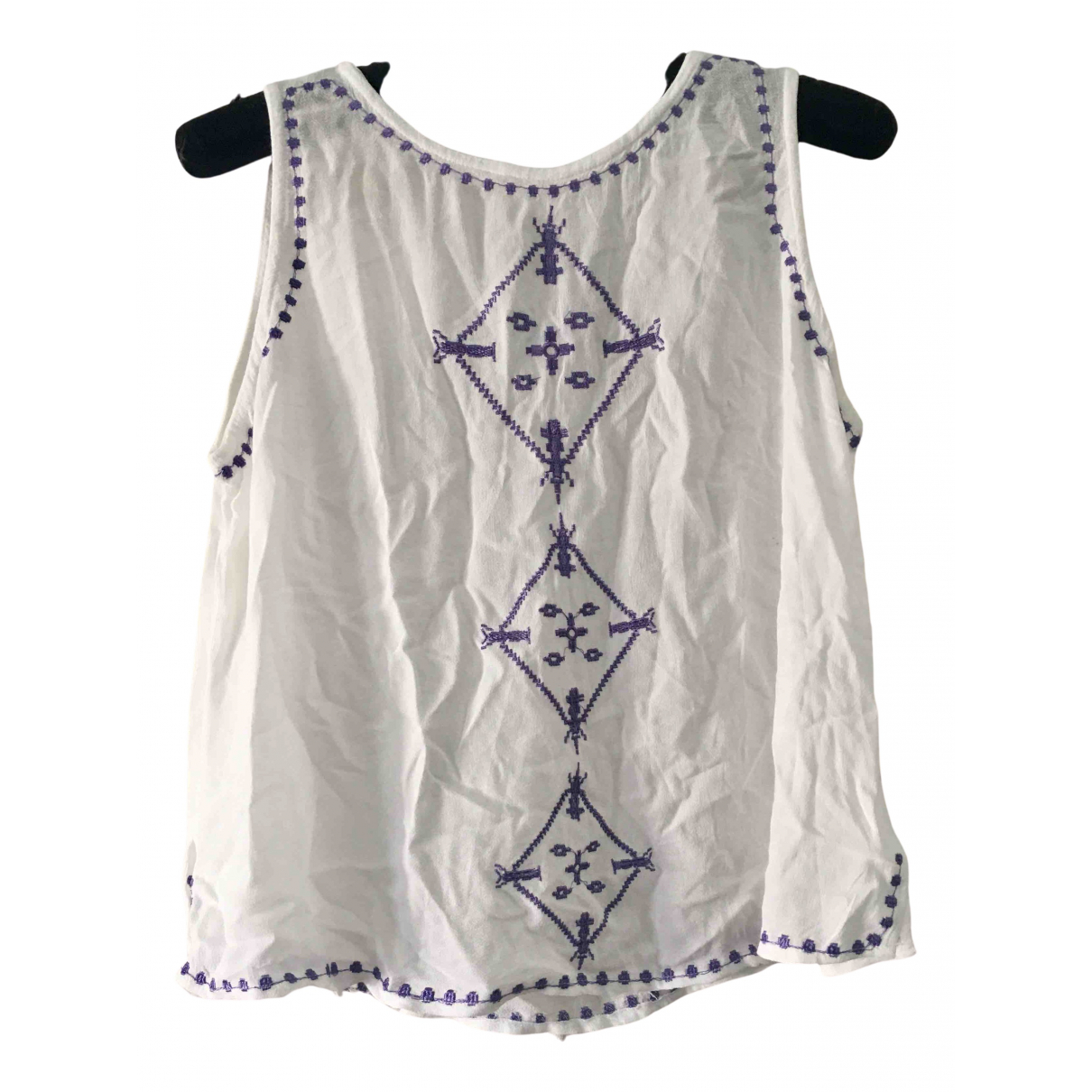 Non Signé / Unsigned N White Cotton  top for Women L International
