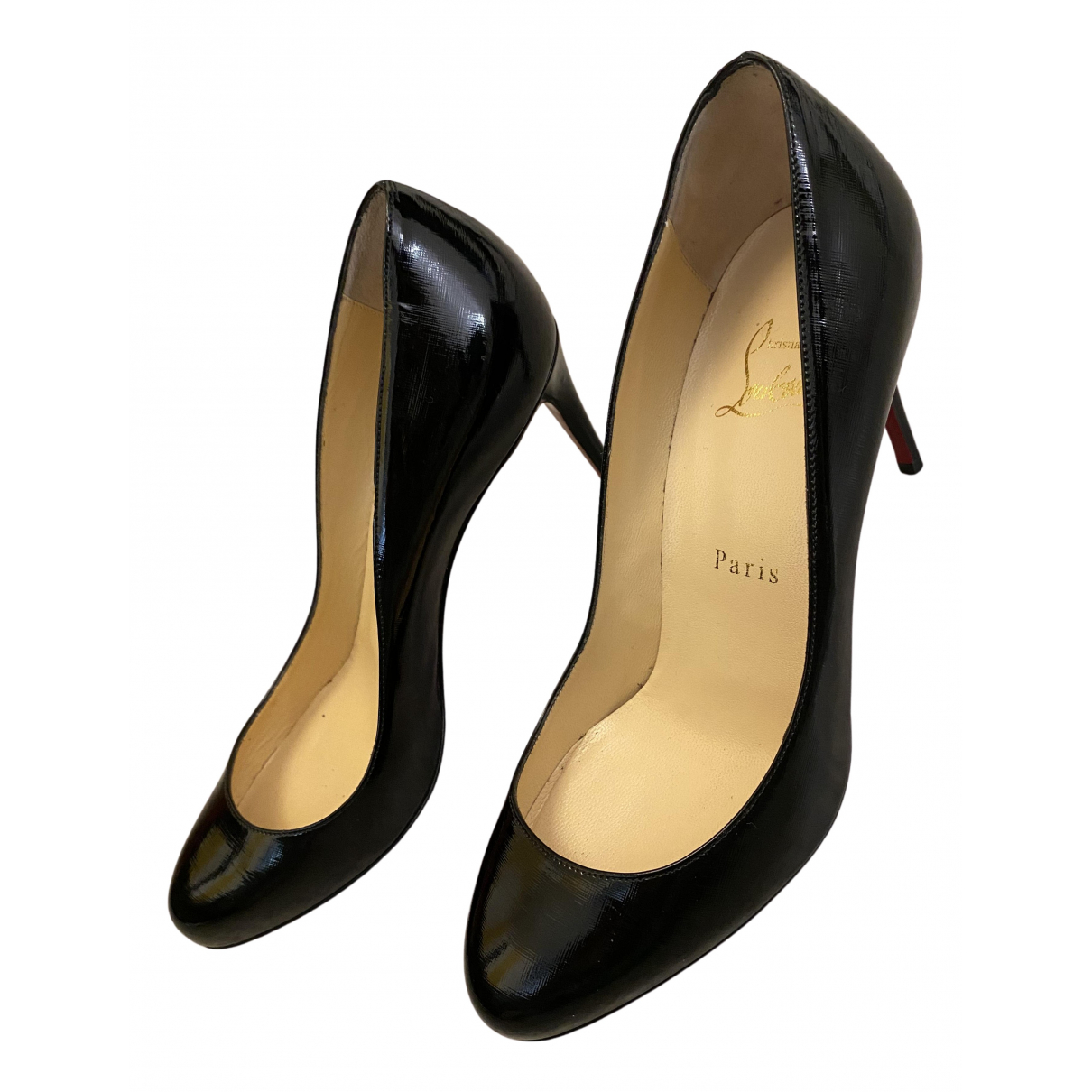 Christian Louboutin N Black Leather Heels for Women 37.5 EU