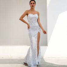 Split Thigh Sequin Tube Prom Dress