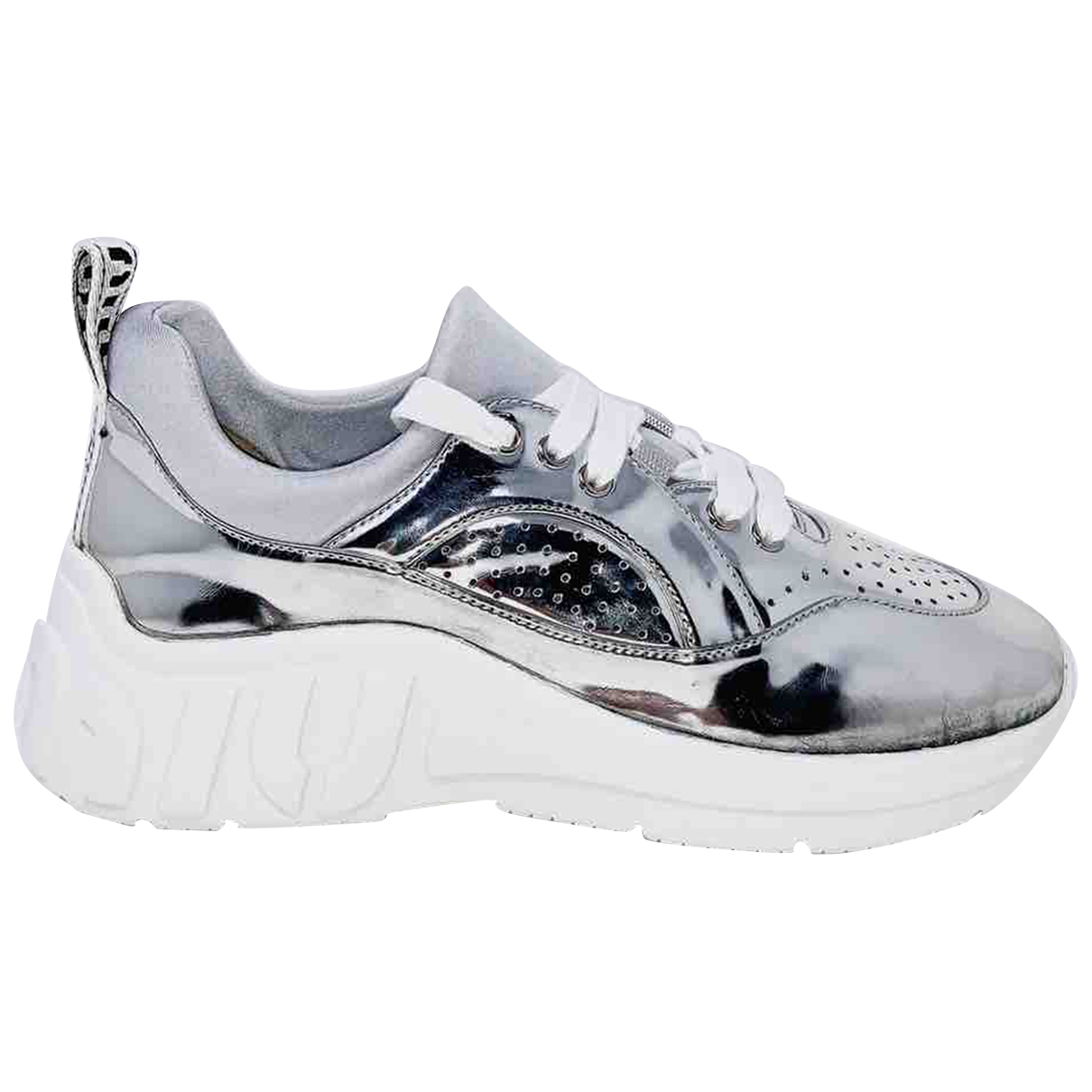 Miu Miu N Silver Leather Trainers for Women 39.5 IT