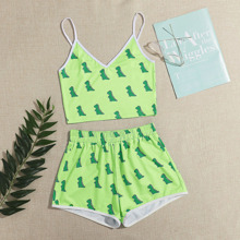 Dinosaur Graphic Ringer Cami & Shorts