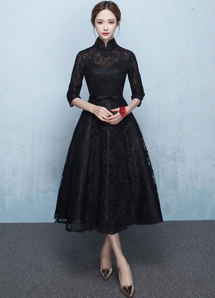 Milanoo Black Mother's Dress Lace Prom Dress Mandarin Collar Half Sleeve Sash A Line Tea Length Wedding Guest Dresses