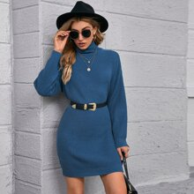 Drop Shoulder Turtleneck Sweater Dress Without Belt
