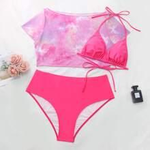 3pack Plus Tie Dye Butterfly Print Bikini Swimsuit