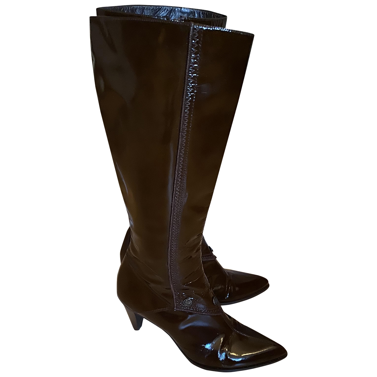 Balenciaga \N Brown Patent leather Boots for Women 37 EU