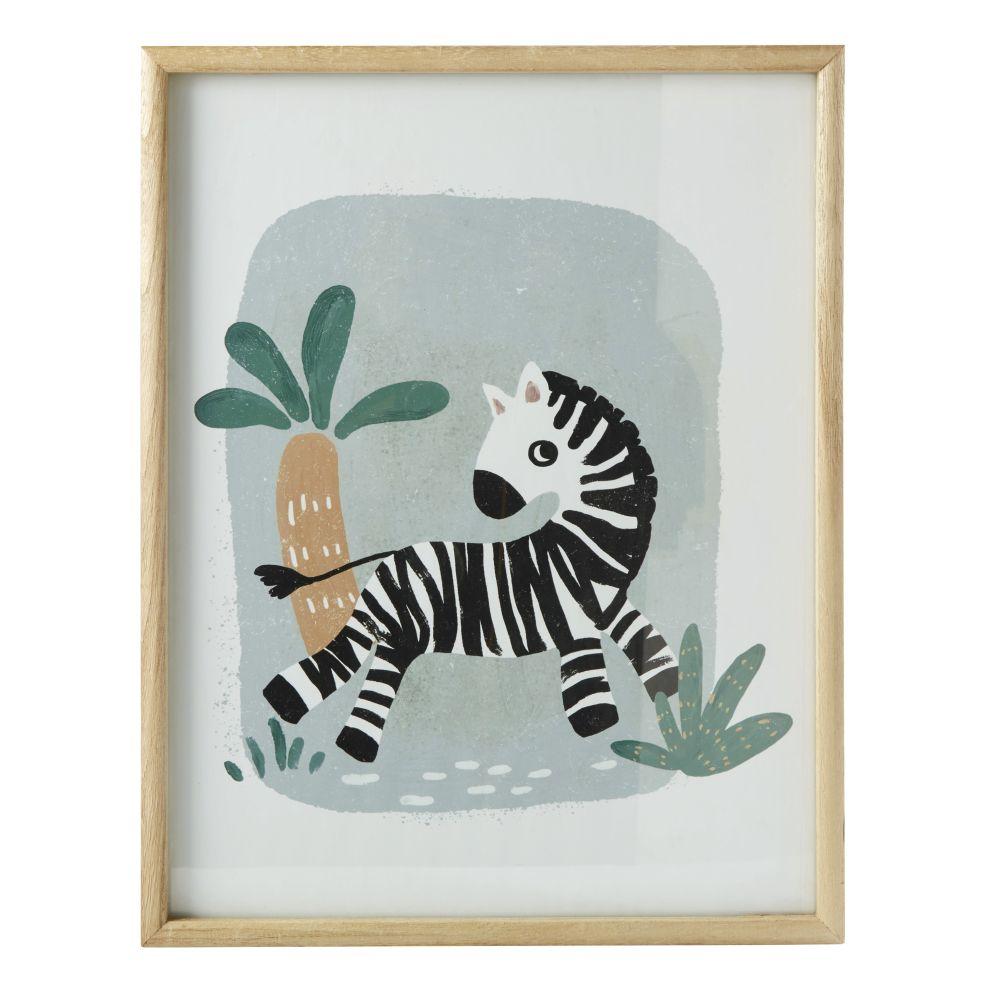 Kunstdruck Zebra, mehrfarbig 35x45