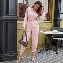 O-ring Zip Up Belted Jumpsuit