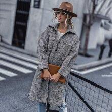 Single Breasted Flap Pocket Tweed Coat