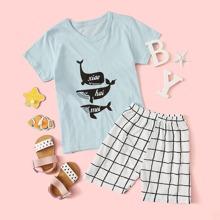 Toddler Boys Whale Print Tee & Plaid Shorts PJ Set