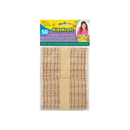Grooved Natural Craft Stick, Wood, 50 Per Pack