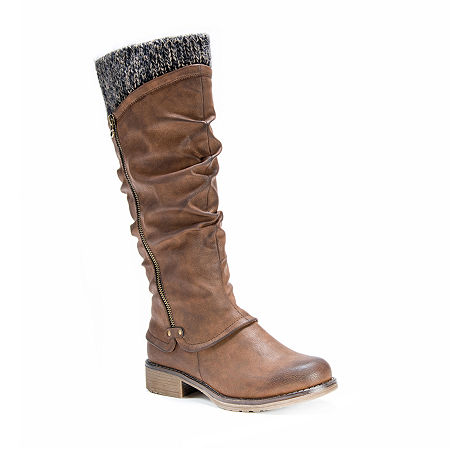 Muk Luks Womens Bianca Water Resistant Winter Boots Flat Heel, 8 Medium, Brown