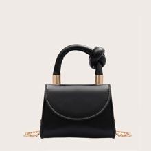 Mini Knot Decor Flap Satchel Bag