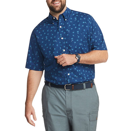 IZOD Big and Tall Cool F X Mens Short Sleeve Cooling Button-Down Shirt, 6x-large , Blue