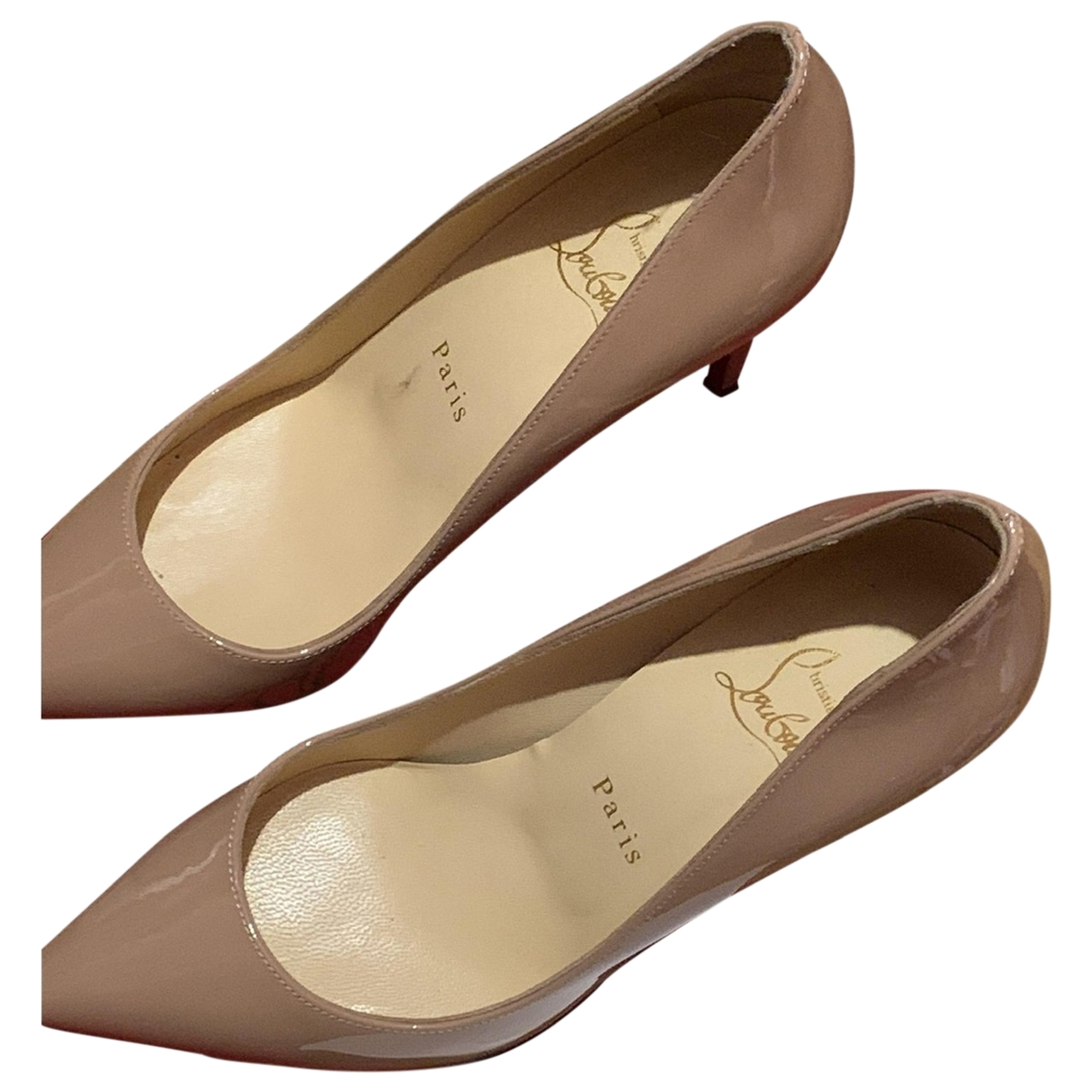Christian Louboutin Pigalle Beige Patent leather Heels for Women 37.5 IT