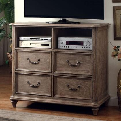 Belgrade I Collection CM7611TV 46 Media Chest with 4 Drawers  Open Compartments  Solid Wood and Wood Veneers Construction in Rustic Natural Tone