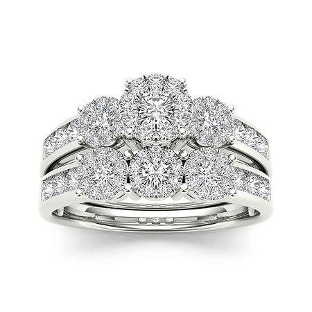 3/4 CT. T.W. Diamond 10K White Gold Bridal Set, 9 , No Color Family