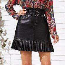 Pleated Hem Belted PU Leather A-line Skirt