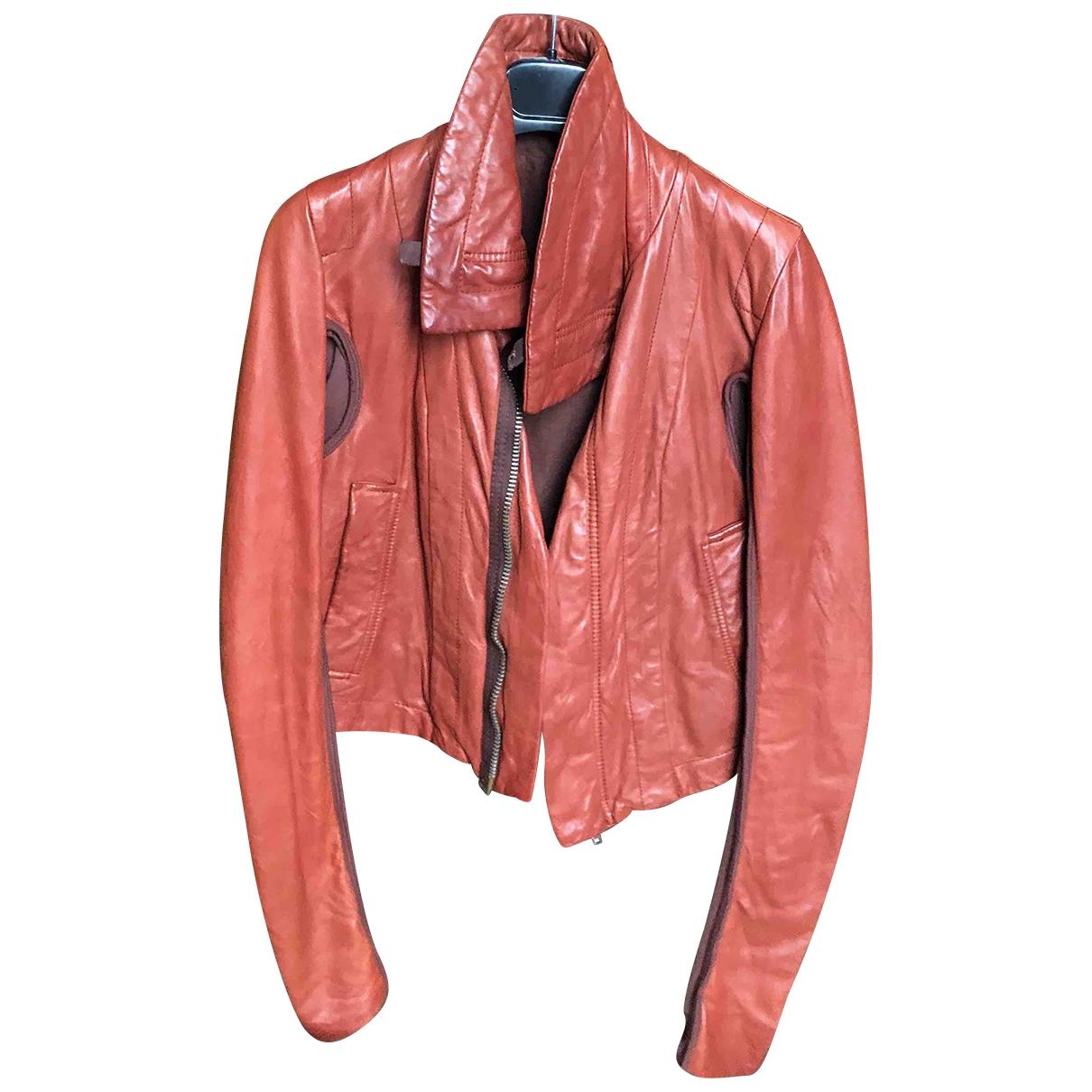 Rick Owens - Blouson   pour femme en cuir - bordeaux