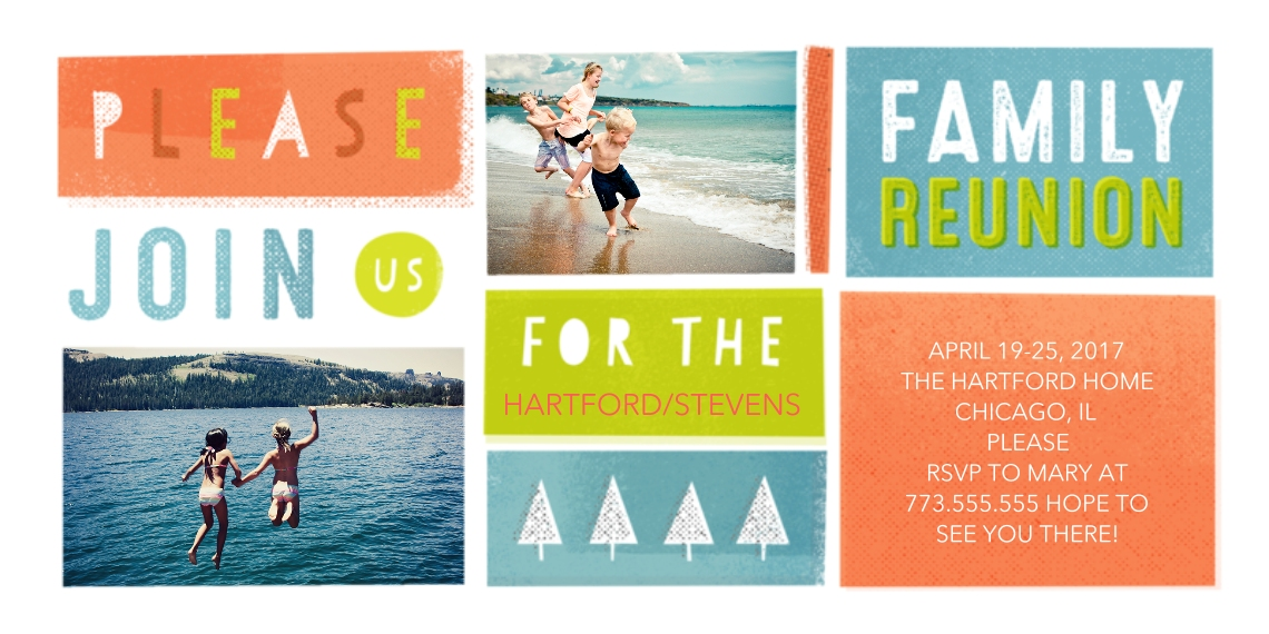 Party Invitations Flat Matte Photo Paper Cards with Envelopes, 4x8, Card & Stationery -Family Reunion Adventure