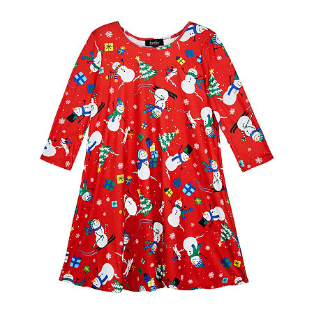 by&by girl Big Girls Long Sleeve Drop Shoulder Sleeve Holiday A-Line Dress, Small (7-8) , Red