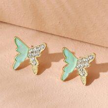 Pendientes con mariposa con diamante de imitacion