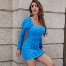 Leg-of-mutton Sleeve Ruched Bust Mesh Dress