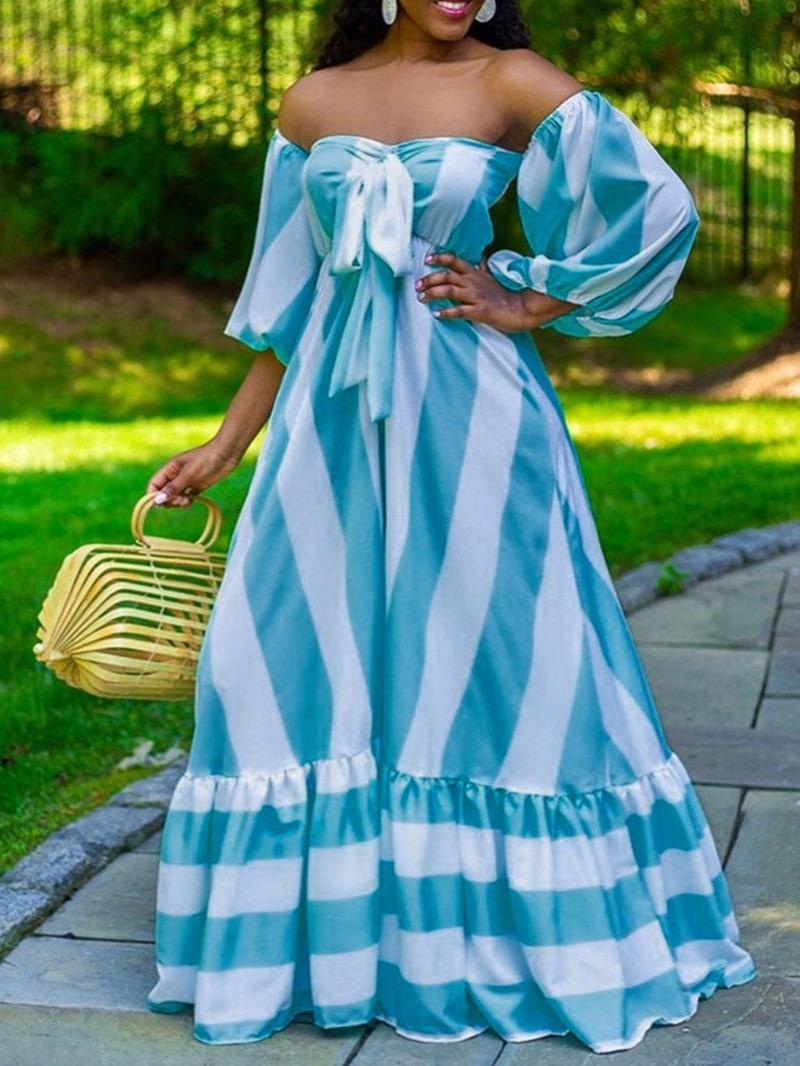 Ericdress Nine Points Sleeve Floor-Length Bowknot High Waist Stripe Dress