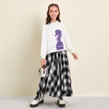 Girls Hippocampus Print Drop Shoulder Hoodie & Tartan Skirt Set