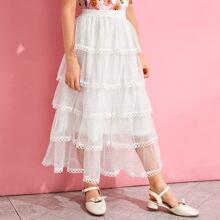 Falda de niñas con malla a capas ribete con encaje circular