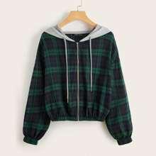 Zip Up Contrast Hooded Tartan Hooded Jacket