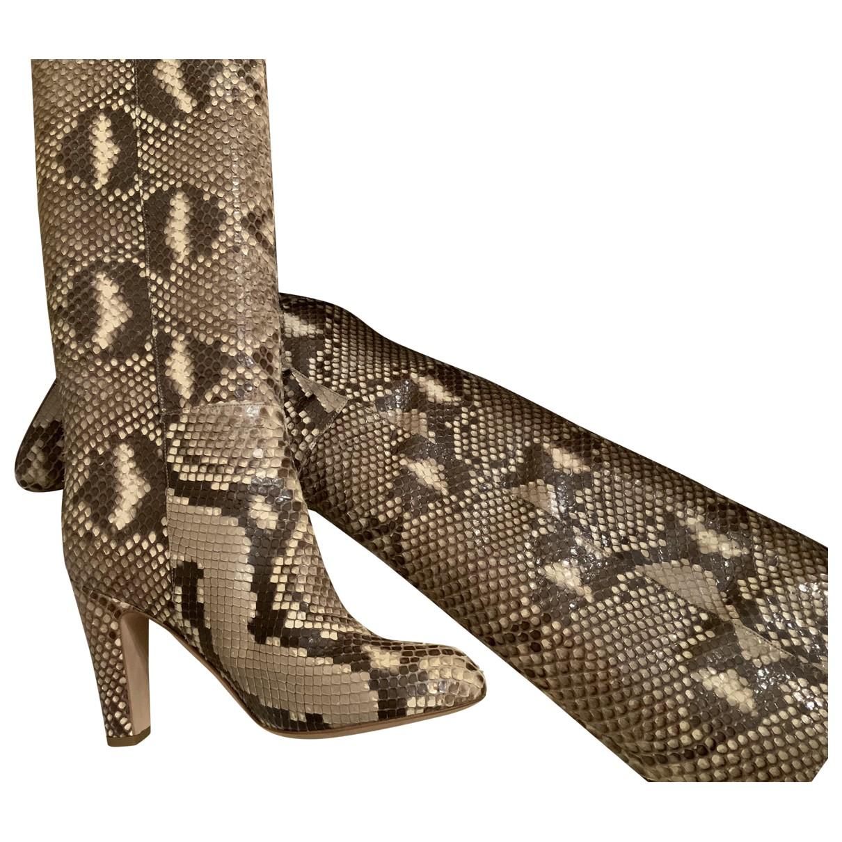 Sergio Rossi - Bottes   pour femme en python - beige
