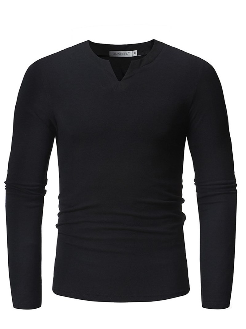 Ericdress Plain V-Neck Slim Mens Casual T Shirts