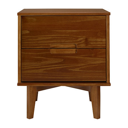 Modern 3 Drawer Solid Wood Nightstand, One Size , Brown