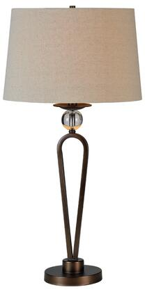 Pembroke Table Collection LPT372 Table Lamp with 1 Bulb  Bronze Finish Resin Base and Beige Linen
