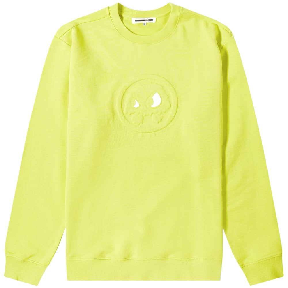 McQ Alexander McQueen Embossed Face Sweatshirt Colour: YELLOW, Size: SMALL
