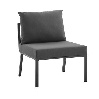 Riverside Collection EEI-3567-SLA-CHA Outdoor Patio Aluminum Armless Chair with Powder-Coated Aluminum Frame  All-Weather Fabric Cushions and Plush