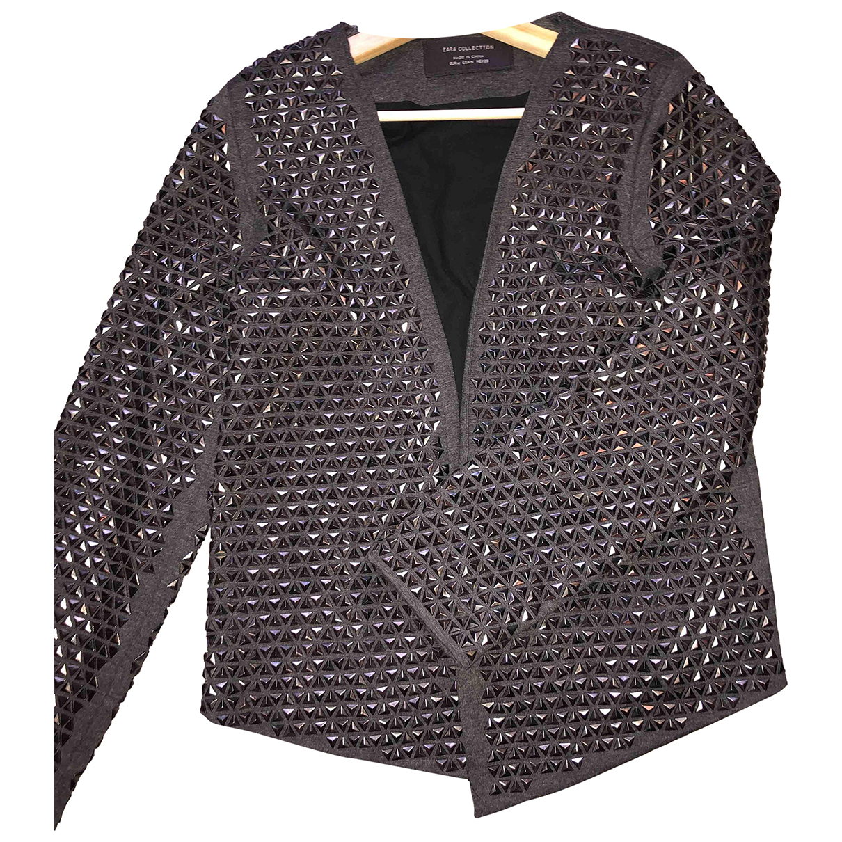 Zara - Veste   pour femme en coton - gris
