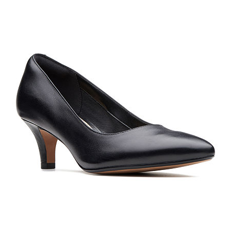 Clarks Womens Linvale Jerica Pumps Kitten Heel, 7 1/2 Medium, Black