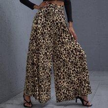 Hose mit hoher Taille, Leopard Muster und breitem Beinschnitt