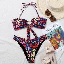 Leopard Heart Ring Linked Halter Bikini Swimsuit