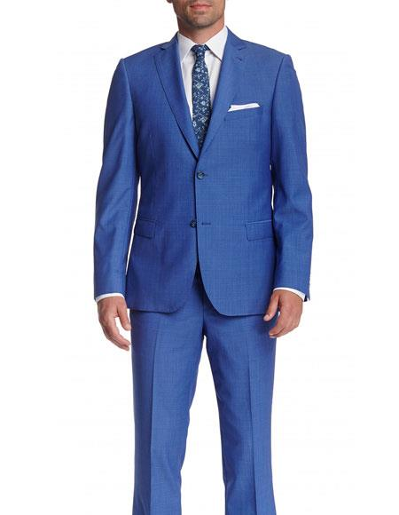 Mens 2 Button Wool Slim Fit Notch Lapel With Pick Stitching Suit Blue