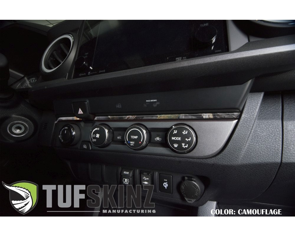 Tufskinz TAC034-CAM-M Accent Strip Above Climate Control Fits 2016-2020 Toyota Tacoma 2 Piece Kit In Camouflage