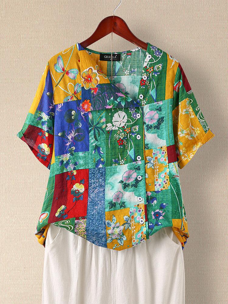 Floral Print Patchwork Short Sleeve Asymmetrical Button Casual Blouse