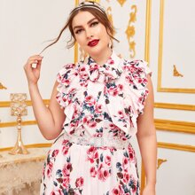 Plus Tie Neck Layered Ruffle Armhole Floral Top