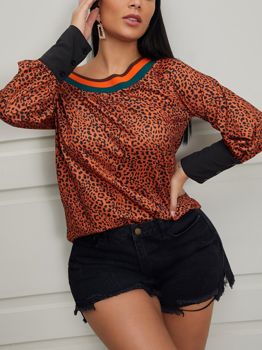 LW Lovely Stylish Leopard Patchwork Yellow Blouse