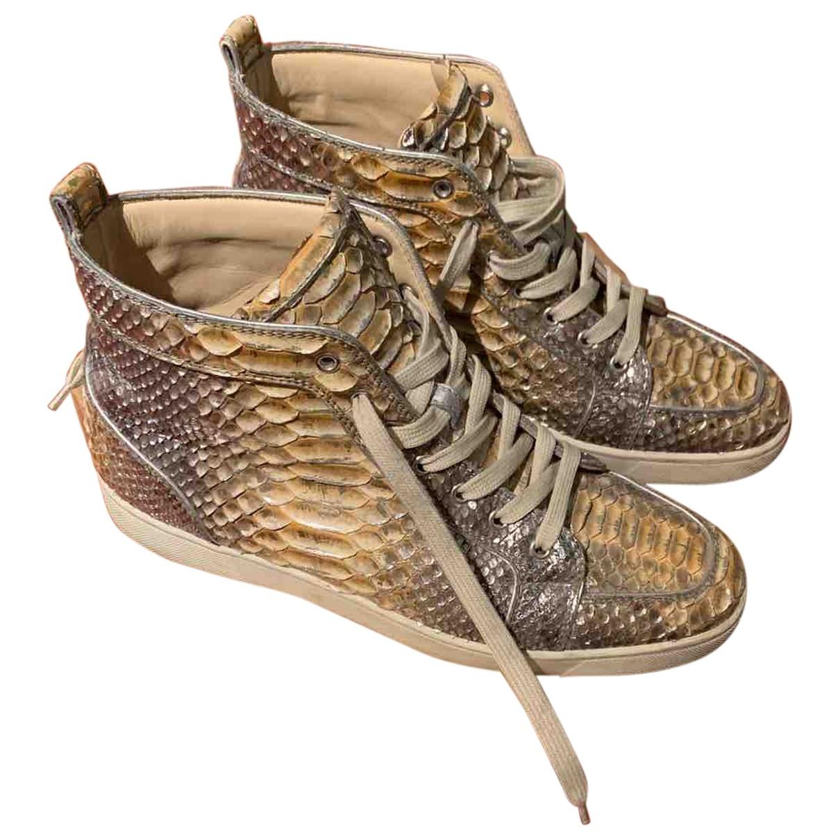 Christian Louboutin - Baskets   pour homme en python - beige