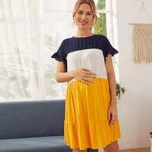Vielfarbig Knopfe  Colorblocks Bohmisch Umstandsmode Kleider